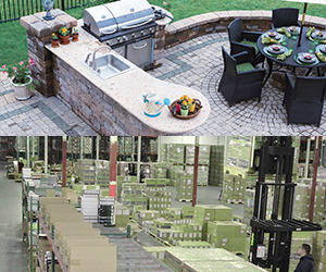 Varifocal Lens Example Scenarios showing a backyard patio, and a large warehouse