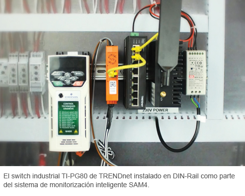 TRENDnet's industrial switch and SAM4 system installed inside Motor Control Cabinet