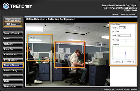 TRENDnet | Support | FAQ | TV-IP422WN | How do I setup motion