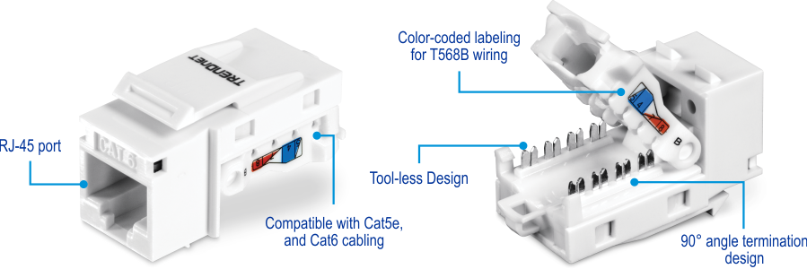each keystone jack provides up to 10gbps speeds over 55m (180 ft ) of cat6  ethernet cabling  these cat6 keystone jacks feature a convenient tool-less  design