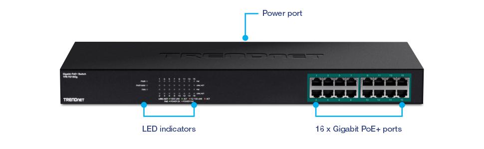 16-Port Gigabit PoE+ Switch