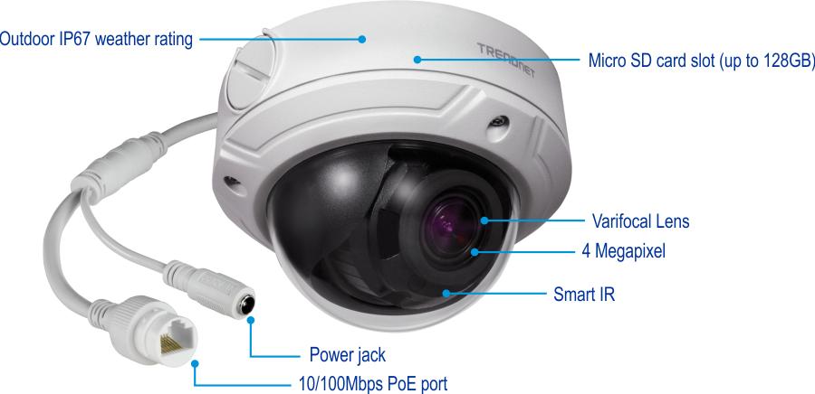 Camera IP bán cầu trong nhà/ngoài trời, chuẩn H.265 TV-IP345PI