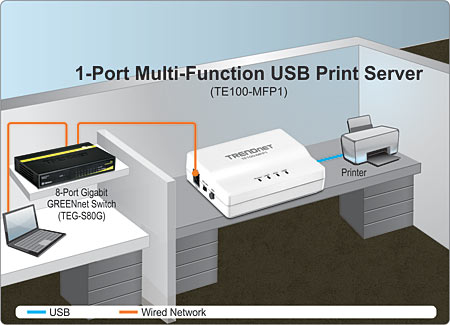1-Port Multi-Function USB Print Server - TRENDnet TE100-MFP1