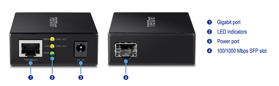 1000BASE-T to SFP Fiber Media Converter - TRENDnet TFC-GSFP