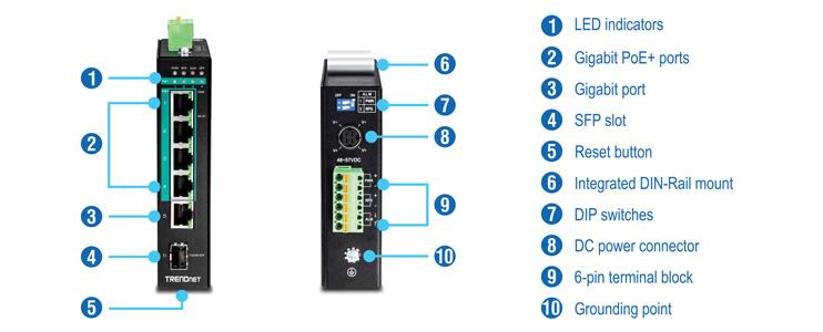 5-Port Hardened Industrial Gigabit PoE+ DIN-Rail Switch