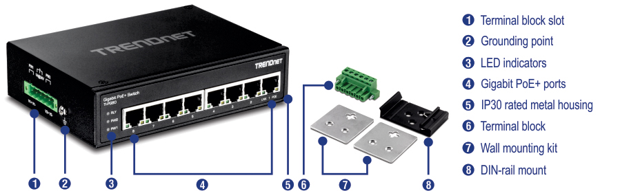 TI-PG80 Industrial POE Switch