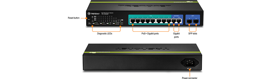 Trendnet products tpe 1020ws 10 port gigabit web smart poe fanless rack mountable housing features eight gigabit poe ports automatically supplies poe 30 watts and poe 15 watts and two gigabit ethernet uplink sciox Gallery