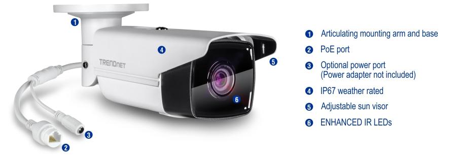 Camera hình trụ lắp đặt trong nhà/ ngoài trời, độ phân giải 5Mp TV-IP313PI