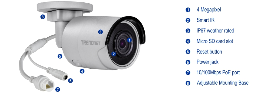 Camera hình trụ trong nhà/ngoài trời, chuẩn H.265