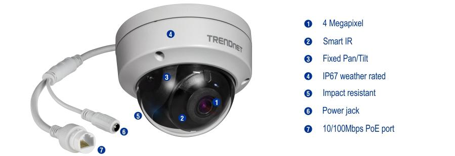 Camera Camera bán cầu trong nhà/ngoài trời, chuẩn H.265