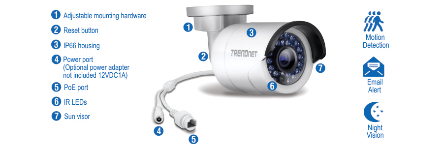 Indoor outdoor 13 mp hd poe ir network camera trendnet tv ip320pi this ultra compact camera is outdoor ready with an ip66 weather rated housing it comes with a free apple and android mobile app and complimentary sciox Images