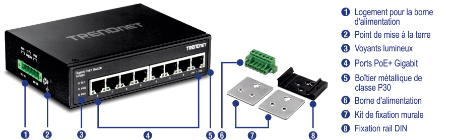 Switch Rail Din Poe Gigabit Industriel Renforc 233 224 8 Ports