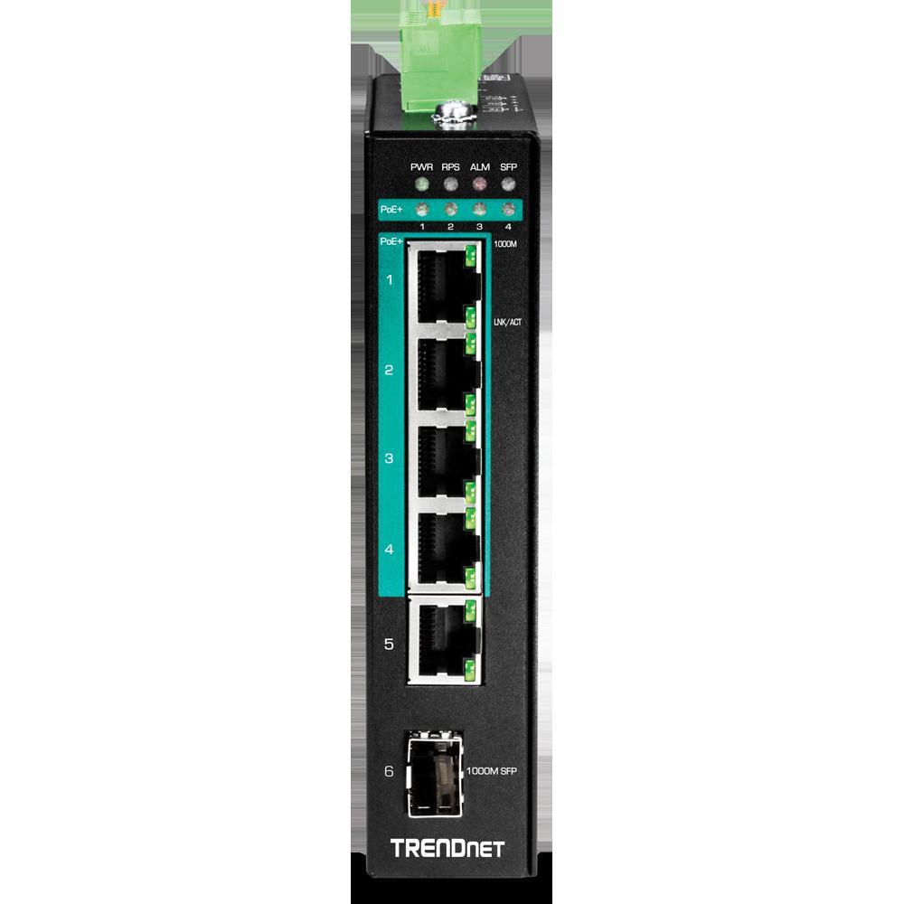 TRENDnet 5-Port Hardened Industrial Gigabit PoE DIN-Rail Switch Limited Lifetim