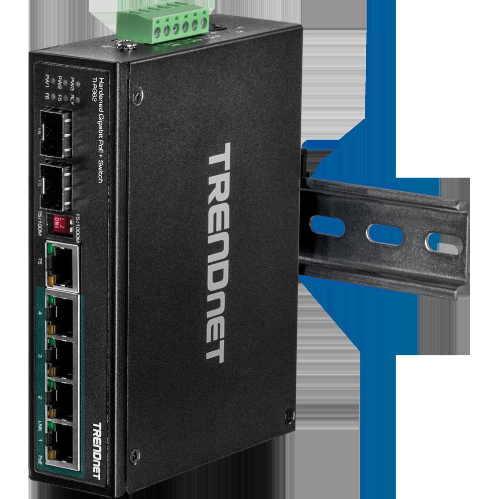 6-Port Hardened Industrial Gigabit PoE+ DIN-Rail Switch - TRENDnet
