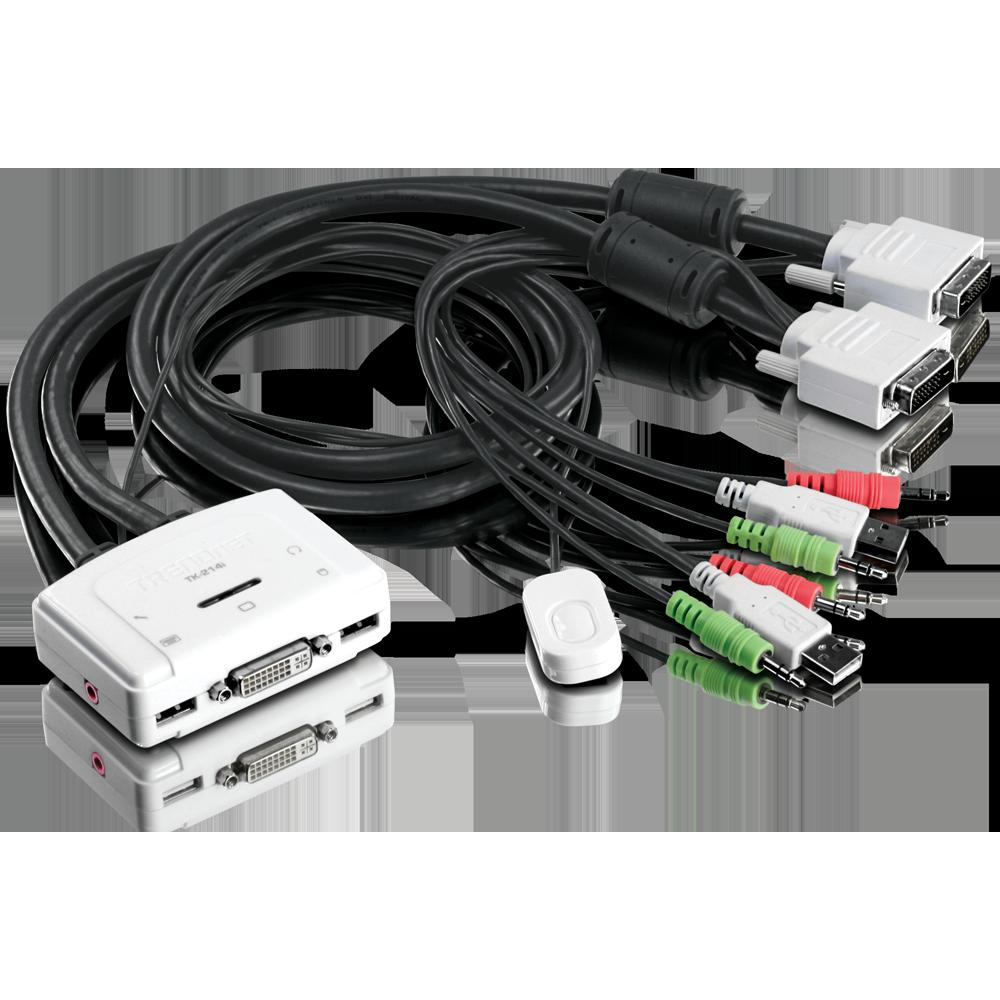 2-Port DVI USB KVM Switch Kit with Audio - TRENDnet TK-214i