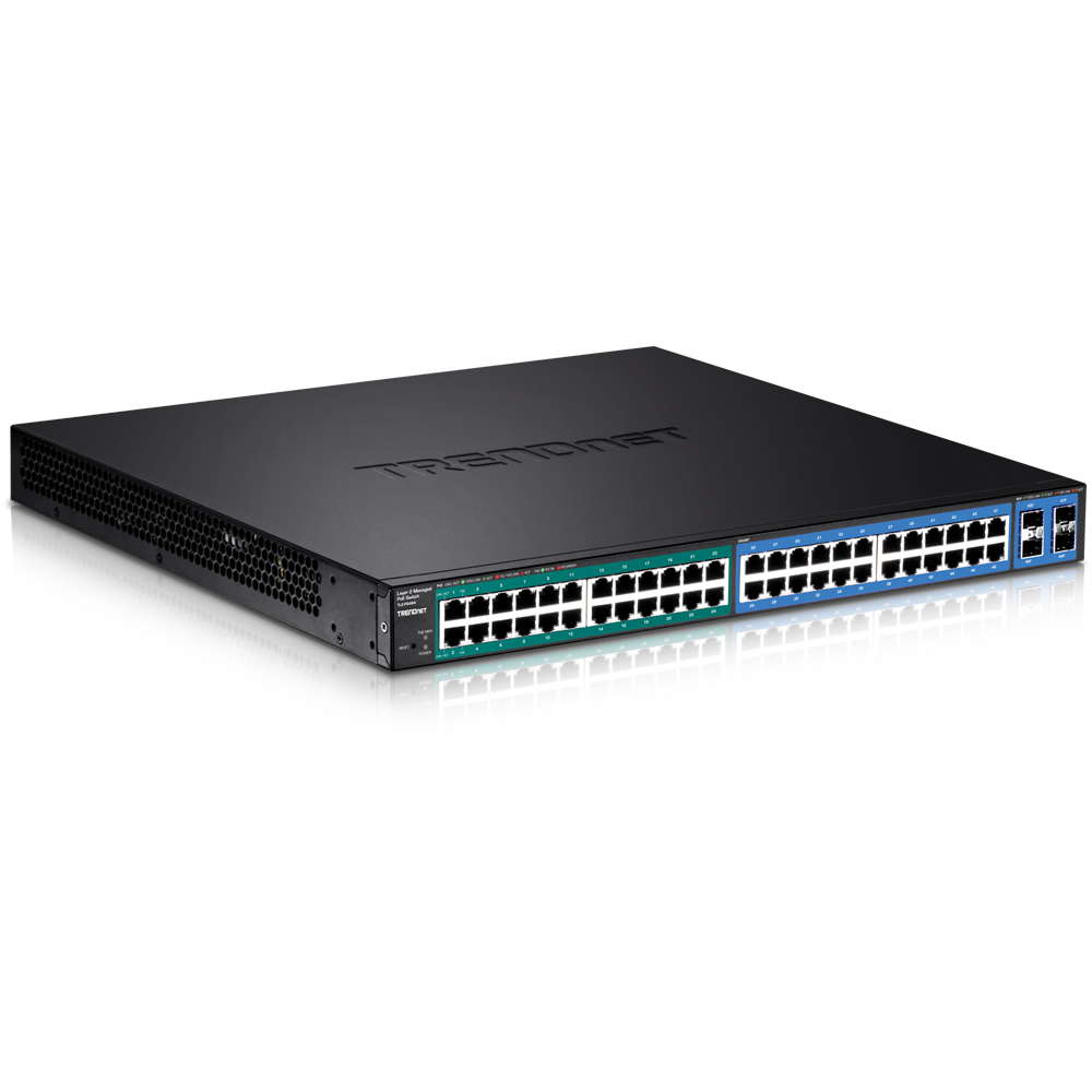 48-Port Gigabit PoE+ Managed Layer 2 Switch with 4 shared