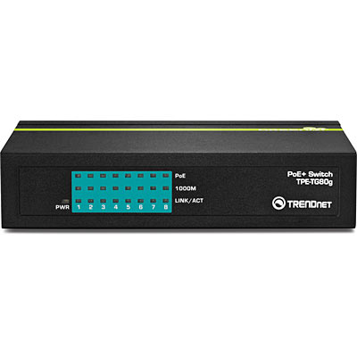 8 Port Gigabit Greennet Poe Switch Trendnet Tpe Tg80g