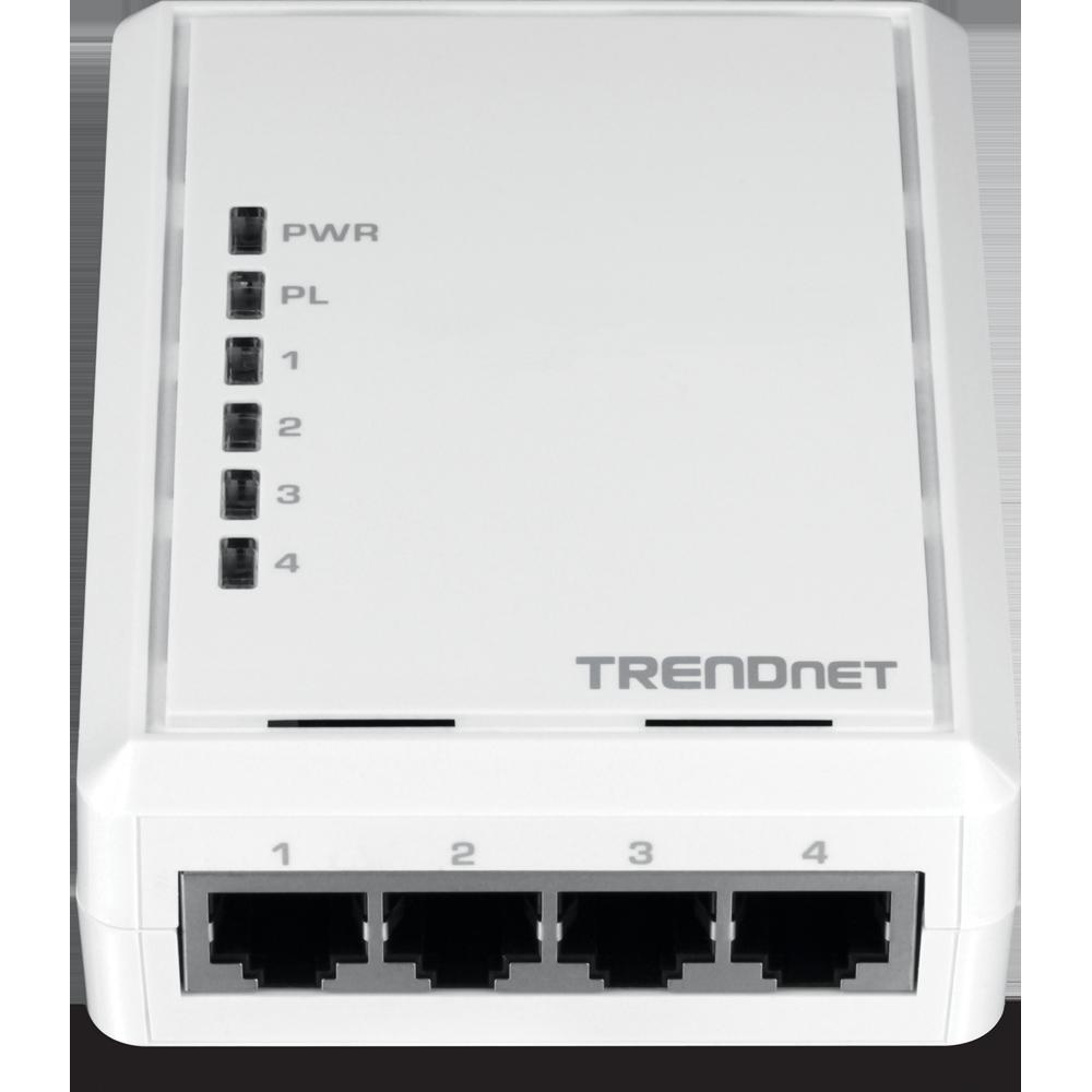 4 Port Powerline 500 Av Adapter Trendnet Tpl 4052e Using Homeplug Ethernet For Home Network Media Streaming Front