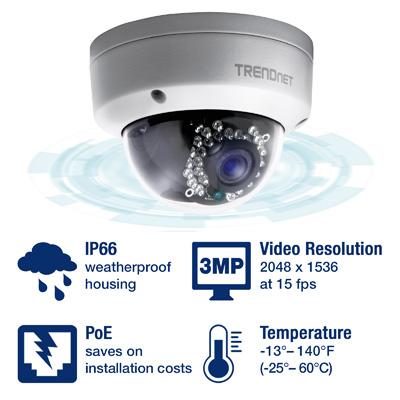 Indoor / Outdoor 3 MP Voll-HD PoE Tag- / Nacht-Kuppelnetzwerkkamera ...