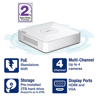 4-Channel HD PoE NVR with 2 TB HDD - TRENDnet TV-NVR104D2