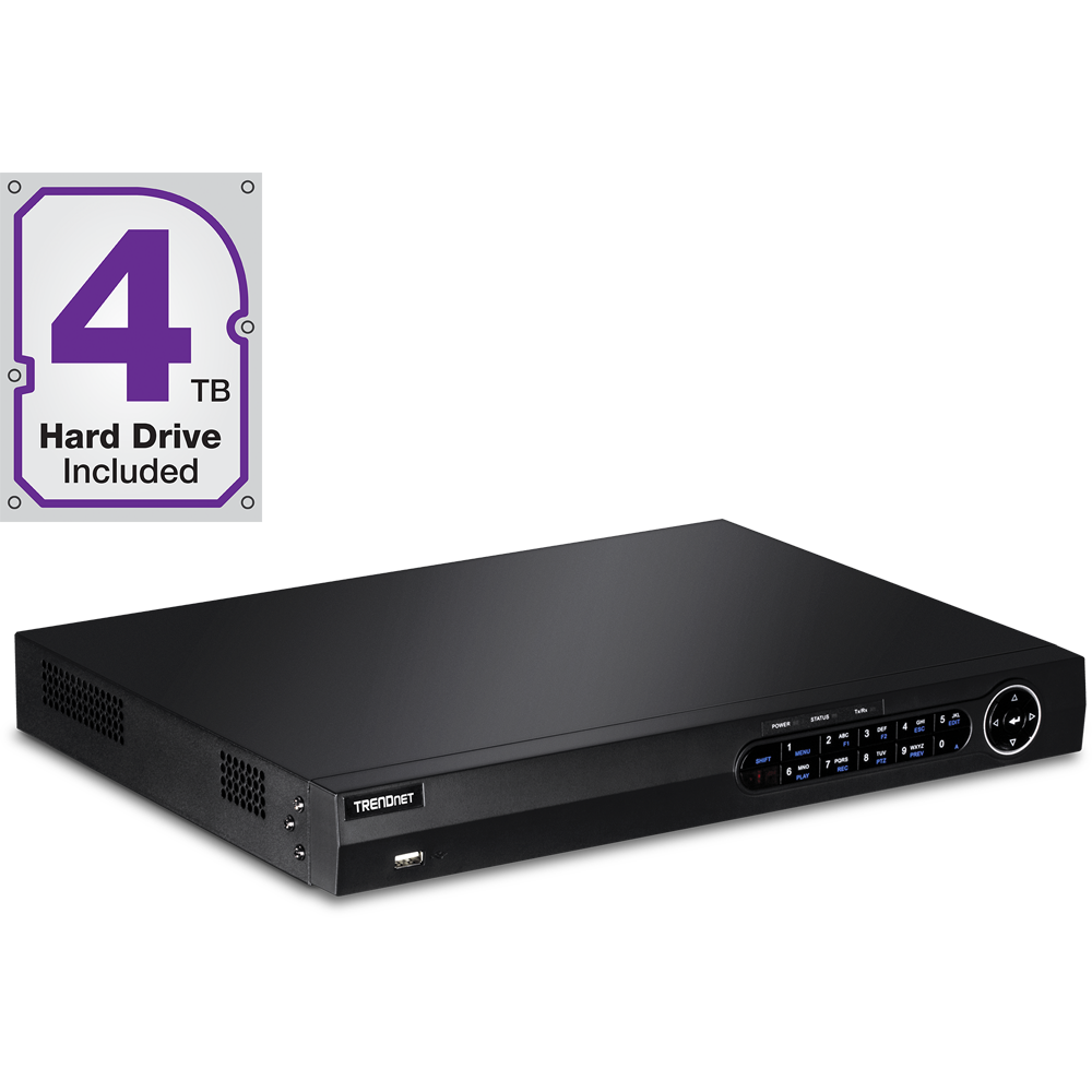 16-Channel HD NVR with 4 TB HDD - TRENDnet TV-NVR2216D4